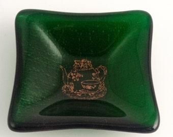 Mica Teapot Aventurine Green Fused Glass Trinket Dish FB420