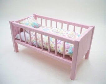 Wood Doll Bed ,Doll Bed,  American Doll Bed, Doll Crib,  Girls Toy ,18inch doll bed, Baby Doll Crib, Baby Doll Bed