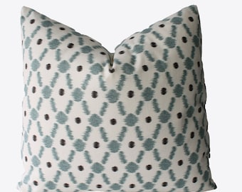 Decorative Lattice Aqua Pillow Cover, 18x18, 20x20, 22x22 or Lumbar, Trellis Throw Pillow