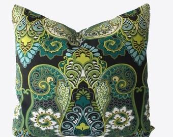 Decorative Outdoor Paisley Pillow Cover, Lime Green, Teal,  Aqua, 18x18, 20x20, 22x22 or Lumbar Throw Pillow