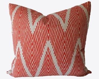 Decorative Orange Chevron Zig Zag, 20x20, 22x22 24x24 or Lumbar, Throw Pillow