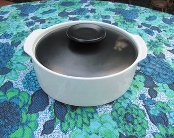 J&G Meakin Covered Casserole Mid Century Mod Black and White