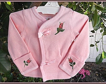 Infant Hand Painted Eco Friendly Rosebud Shabby Top Hand Dyed Baby Wearable Art Clothing