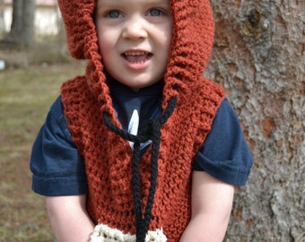 Crochet Critter Hoodie Sweater Vest