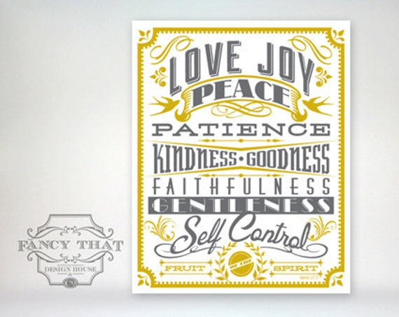 11x14 art print - Fruit of the Spirit - Gold & Grey Typography Poster Print - Galatians Scripture Bible Verse
