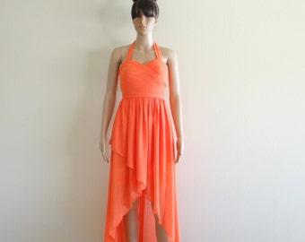 Bridesmaid Dress. Orange Prom Dress. Long Dress