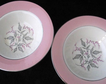 2 Homer Laughlin Barclay Berry Bowls with Pink Rim and Gray Leaves Vintage 1950s PAIR
