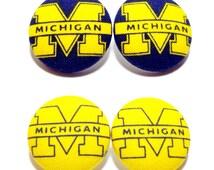 Medium University of Michigan Print Button Earrings
