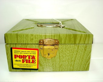 Vintage File Box Ballonoff USA Green Metal Porta File Check Box And Key