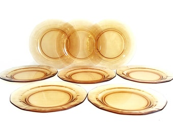 Vintage Plates Set of 8 Fostoria Fairfax Amber Golden Peach Desset/Bread/Salad Plate