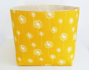 Extra Large Storage Basket Fabric Organizer in Yellow Dandelion with Canvas liner - Choose Size