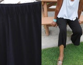 Wide Leg Pull On Knit Capri Pants / Casual / Lounge / Yoga Pants - All Sizes / Colors
