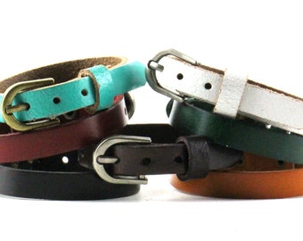 Plain Leather Bracelet Buckle Closure. Leather Band. Leather Wristband. Leather Wrist Band. Leather Cuff Black, Brown, White, Teal B051-PL