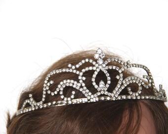 Vintage Tiara - Rhinestones Tiara - Wedding Bridal Accessories Silver Tone Veil Decorations Queen Princess Corona Quinceanera- Silver Tone