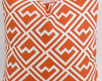 Tangerine Orange Pillow Cover up to 28x28 inch Tangelo Shakes geometric white cushion cover throw sham Premier Prints decorator FREE SHIP