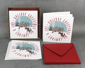 Holiday Christmas Cards Stationery Greetings Snowy Cabin and Reindeer