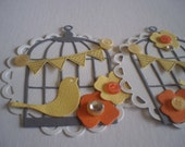 Handmade Scrapbooking Embellishments  Set of 2 Bird and  Decorated Bird Cage
