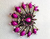 Vintage rhinestone purple flower brooch