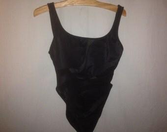 90s black mesh one piece swim suit size 11/12