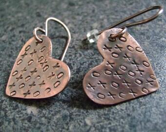 """XO HEART Workshop - DIY Copper Earrings, Heart Earrings, Earring Class, Stamped Earrings, Hugs & Kisses, X""""s and O's"""