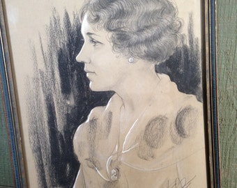 Now on  Sale- Antique Charcoal and Chalk Framed Signed 1927 Ocean City Portrait
