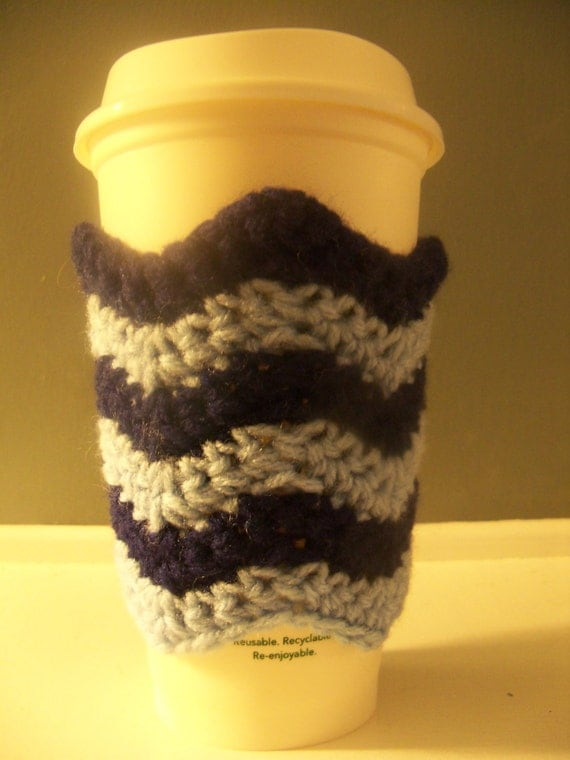 Chevron to-go Cup Cozy, Handcrafted, Crochet, Cotton, Reusable and Washable, Cup Sleeve (your choice of colors)