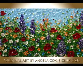 Modern Floral    Multicolored  Flowers  Acrylic Impasto Palette Knife   wall Art  Painting. Made2Order. Size 48 x 24..