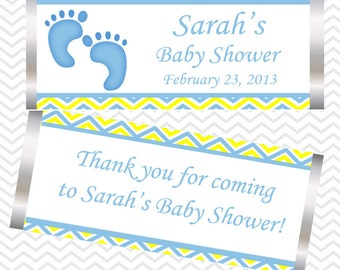 Baby Feet Blue - Personalized Candy Bar Wrapper