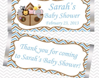 Noah's Ark Blue  - Personalized Candy Bar Wrapper