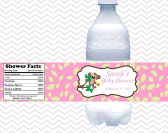 Pink Monkey  - Personalized water bottle labels - Set of 5  Waterproof labels