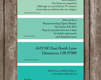 Housewarming Paint Chip Invite/Digital File/Colors Customizable
