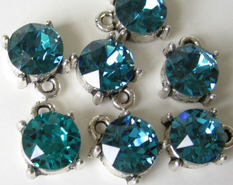 Indicolite blue green swarovski 8mm crystal in antique silver tone setting 2pcs