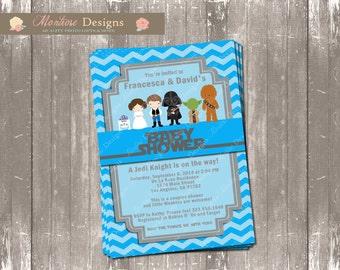 Blue Chevron Star Wars Baby Shower Invitation DIGITAL FILE