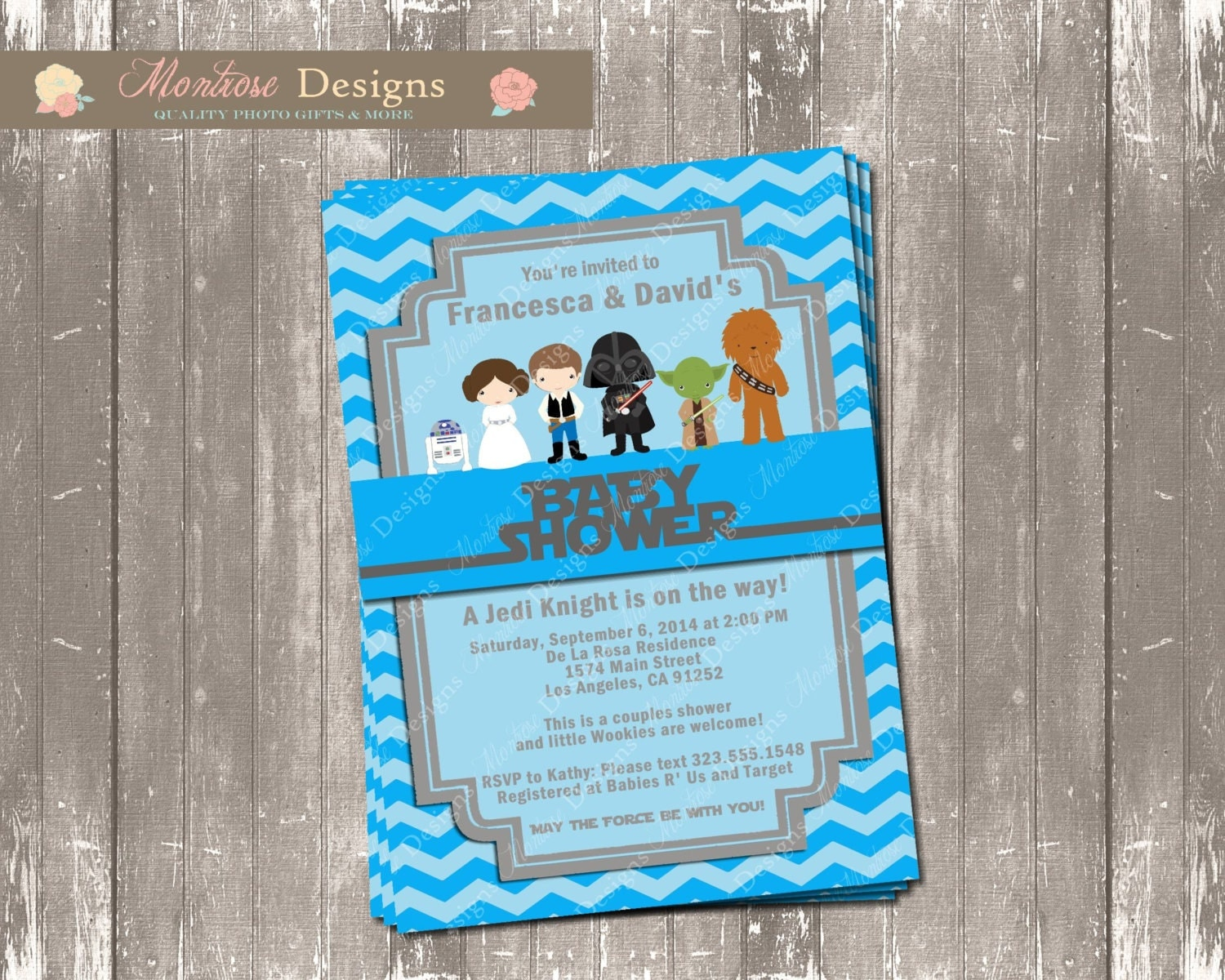 blue chevron star wars baby shower invitation digital file