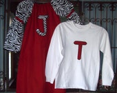 Long Sleeve Brother Sister Matching Outfit - personalized zebra print peasant dress and initial long sleeve t-shirt