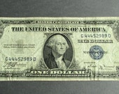 1935 Circulated Silver Certificate, Vintage Silver Dollar Certificate, Dollar Bill, Series 1935 B
