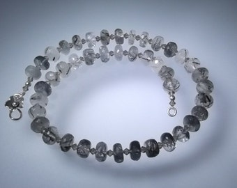 Tourmaline Quartz and Swarovski Crystal Necklace and Matching Earrings