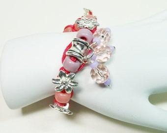 """Pink Macrame' Bracelet, Macrame"""" Bracelet with Bead Charms, Bead Charm Macrame"""" Bracelet, Pink Bracelet, Flower Bracelet"""