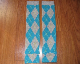 Teal and Gray Argyle Leg Warmers