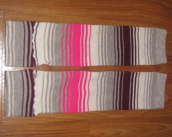 Gray, Maroon, Cream, and Pink Striped Leg Warmers