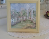 Cottage Shabby Chic Garden Arbor   Picket Fence Hand Painted Picture