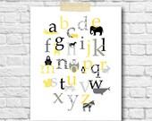 Gray Yellow Baby Nursery Art Decor Animal Alphabet Art Print Baby Girl Nursery Wall Decor Personalized Nursery Decor Kids Room Wall Art