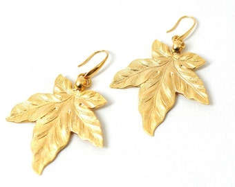 gold leaves earings, earings with leafs, gold plated leaves earings,big gold leaves earings