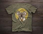 Smiling koala with glasses. koala t-shirt, koala tshirt koala tshirt gift funny t-shirt pet portrait koala t-shirts koala portrait tee shirt