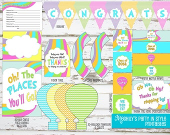 INSTANT DOWNLOAD - Oh, The Places You'll Go GRADUATION 2017 Printable Package