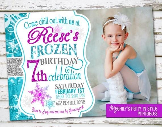 Frozen birthday invitation with photo by meghilys on etsy