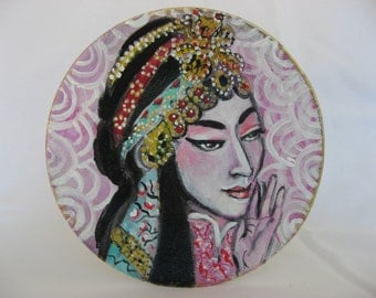Chinese princes, painting on saucer.