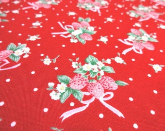 Japanese fabric Strawberry Ribbon Red FQ
