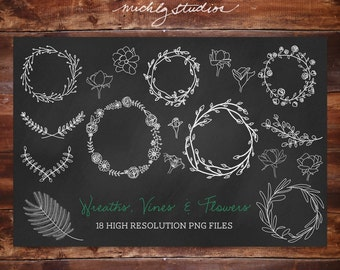 Digital Clipart VECTOR and PNG wreaths, vines & floral clip arts