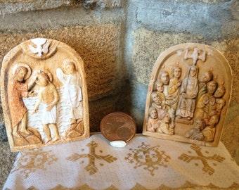 Dollhouse miniature antique altar piece - holy bas relief